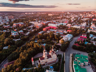 Tomsk cityscape Siberia, Russia. Tom river. Drone aerial top view.
