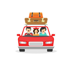 Family trip by car vector illustration, flat cartoon happy people driving or travelling in automobile with luggage, travel via auto isolated on white background