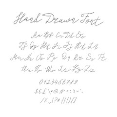 Vector Hand Drawn Font, Calligraphic Handwritten Typeset, Black Sketched Lines on White Background.