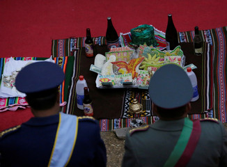 Bolivia's high-ranking officers stand during country's independence anniversary ceremony in Potosi