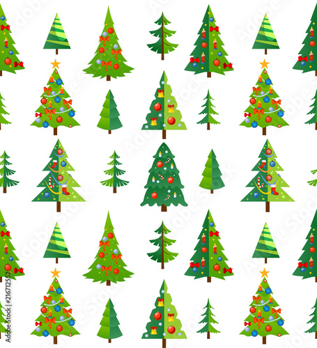 Christmas seamless patterns set with snowflakes, trees and