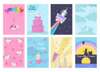 Set of Birthday greeting cards and invitations with unicorns. Vector illustration.