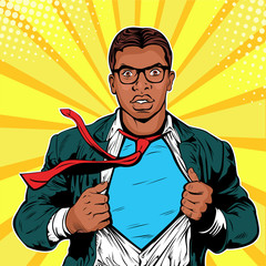 Male afro american businessman superhero pop art retro vector illustration. Strong Businessman in glasses in comic style. Success concept. A grown man in a business suit.