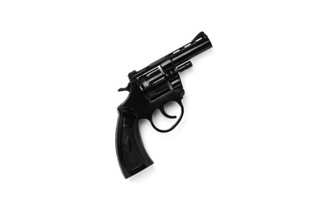 black airsoft gun isolated on a white background.