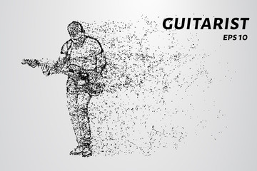 Guitarist playing the guitar. Vector illustration.