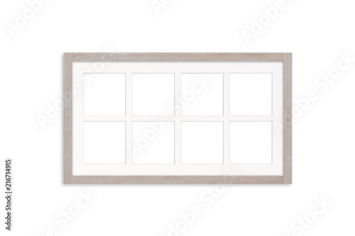 Wooden photo frame mock up with eight pictures collage.\