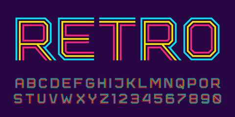 Vector retro line font. Latin alphabet from A to Z and numbers from 0 to 9 made of rainbow line. Outlined stripes style. Fototapete