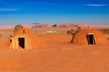 Mud Baked Navajo Homes Called Hogans in Monument Valley, Arizona, USA