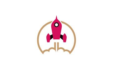 Creative Red Rocket Cloud Logo Design Illustration