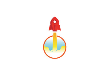 Creative Red Rocket Circle Logo Design Illustration