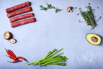 Clean eating ingredients, organic healthy food.Meat with vegetables