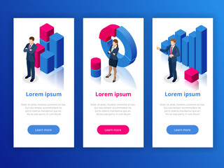 Strategy and planning web banner. Data and investments. Business analysis graphs analysing business performance accounting data. Vector illustration