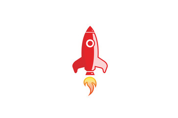 Creative Red Rocket Launch Logo Design Illustration