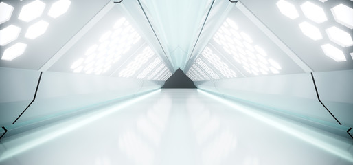 Sci-Fi Futuristic Bright Long Triangle Shaped Ship Tunnel With Hexagon White Lights And Reflected Materials 3D Rendering