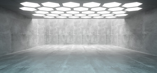 Futuristic Interior Underground Concrete Room With Hexagon Shaped White Lights On The Ceiling With Empty Space Wall 3D Rendering