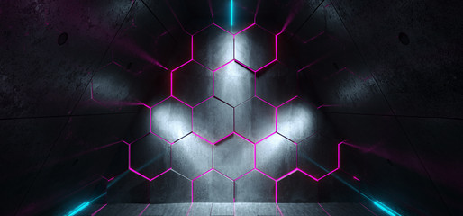 Triangle Shaped Futuristic Sci-Fi Ship Corridor With Hexagon Purple Glowing Lights Reflected Everywhere And Blue Led Neon Stripes 3D Rendering