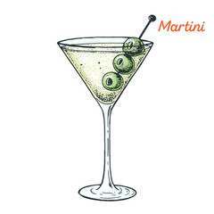 Martini cocktail illustration. Alcoholic cocktails hand drawn vector illustration.