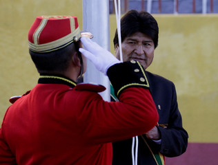 Bolivia's President Morales raises national flag during country's 193rd independence anniversary ceremony in Potosi