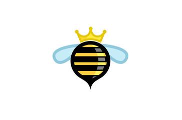 Cute Circle Bee Crown Logo Design Illustration