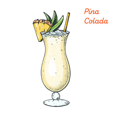Pina Colada cocktail illustration. Alcoholic cocktails hand drawn vector illustration.
