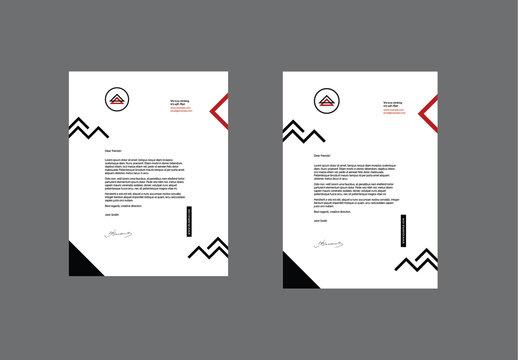 Letterhead Layout Set with Geometric Elements
