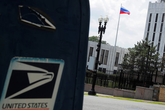 """A mail box with a """"United States"""" label sits across the street from the Embassy of Russia in Washington"""