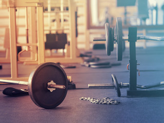 Gym Equipment. Workout training and fitness gym concept.