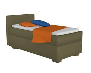 Einzelbett in olivgrün mit Dekorationen, auf weiß isoliert. 3d Render