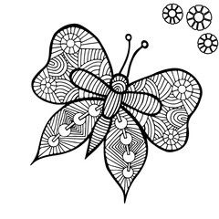 Black line butterfly for tattoo, coloring book