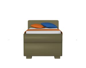 Einzelbett in olivgrün mit Dekorationen, auf weiß isoliert, aus vorderansicht. 3d Render
