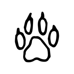 Hand Drawn paw doodle. Sketch style icon. Decoration element. Isolated on white background. Flat design. Vector illustration