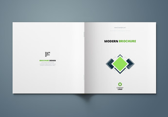 Green and Blue Square Brochure Cover Layout