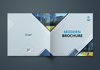 Blue Square Brochure Cover Layout