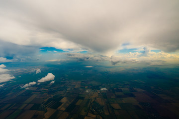 beautiful clouds view from the window of an airplane