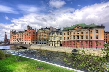 Embankment in the center of Stockholm, Sweden