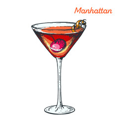 Manhattan cocktail illustration. Alcoholic cocktails hand drawn vector illustration.