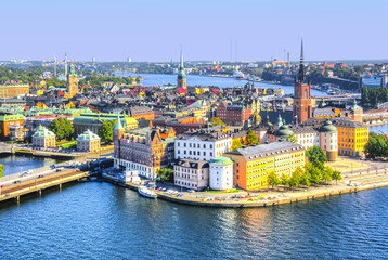 Deurstickers Stockholm Stockholm old town (Gamla Stan) skyline from City Hall top, Sweden