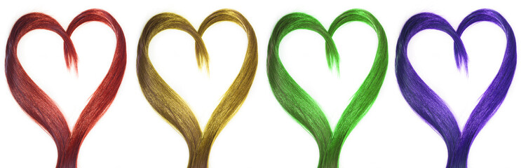 set of hair in shape of heart. many colors