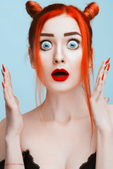 646565fcaca Portrait of Beautiful Pretty Surprised Woman With Red Hair