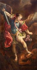 Fototapete - ZARAGOZA, SPAIN - MARCH 2, 2018: The painting of Michael Archangel in church Iglesia de la Exaltación de la Santa Cruz by Manuel Eraso (after Guido Reni in Rome) from 18. cent.