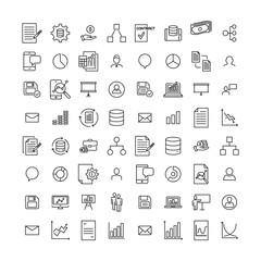 Set of teamwork thin line icons