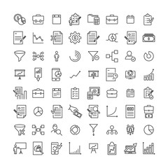 Set of premium strategy icons in line style.