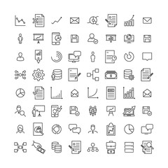 Set of premium leadership icons in line style.