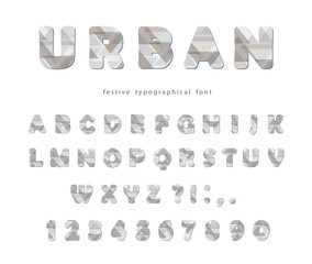 Modern urban font. Stylized letters and numbers. For brochure header, poster, flyer design.