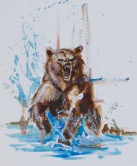 Brown bear splashing through rushing mountain river - traditional acrylic painting