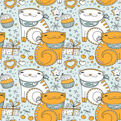 Greeting background template. Vector seamless cute cats, gifts, bakery sweetsand cookies pattern. Flat cartoon icons and symbols set.