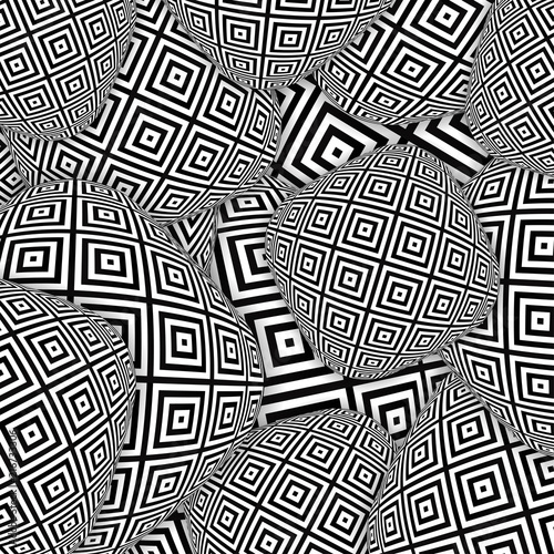 Abstract background with black and white 3d objects backdrop with monochrome shapes