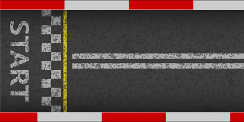 Finish line racing background top view. Art design. Finish on kart race. Grunge textured on the asphalt road. Abstract concept graphic element. Vector illustration