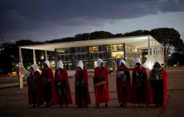 Activists demonstrate in favor of decriminalization of abortion, in front of the Supreme Court in Brasilia