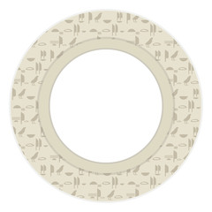 Ancient Egyptian hieroglyphs imitation inscriptions gray brown symbols a wreath vector greeting card round with a white area in the center.